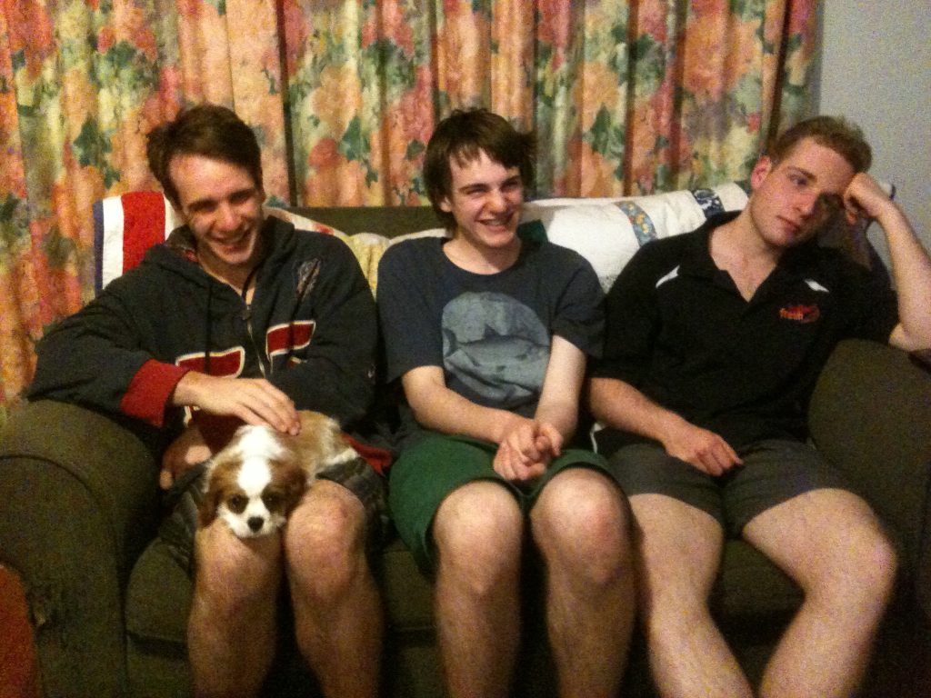 3 of the boys, with Poppy as a pup.