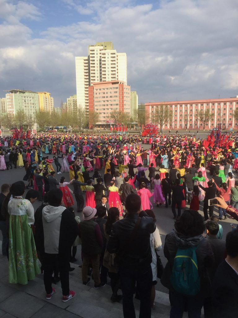 Massed dancing in Pyongyang North Korea, April 2018. So much fun!