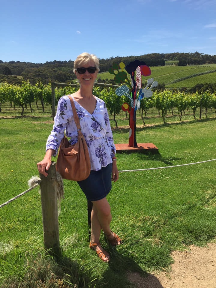 Blogless Sandy at a vineyard.