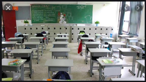 School desks in a rows.