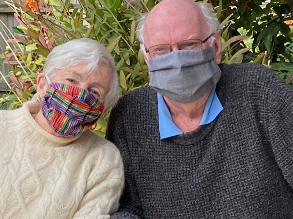 Mum and Dad wearing the masks I made for them.