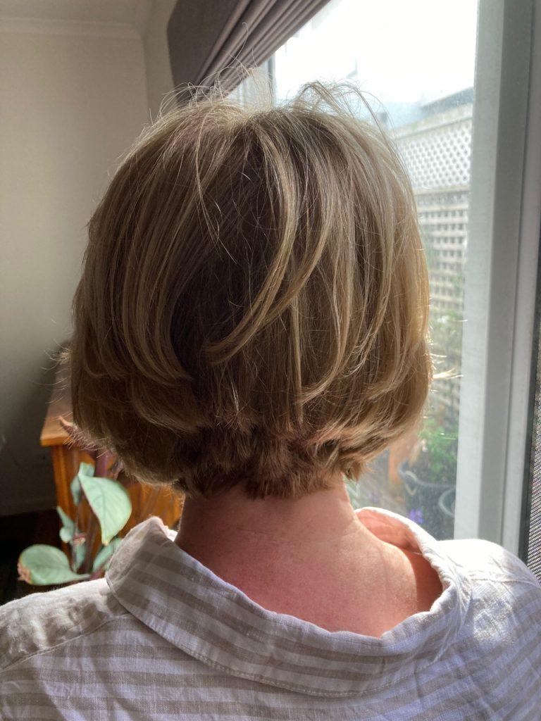 Newly-styled hair