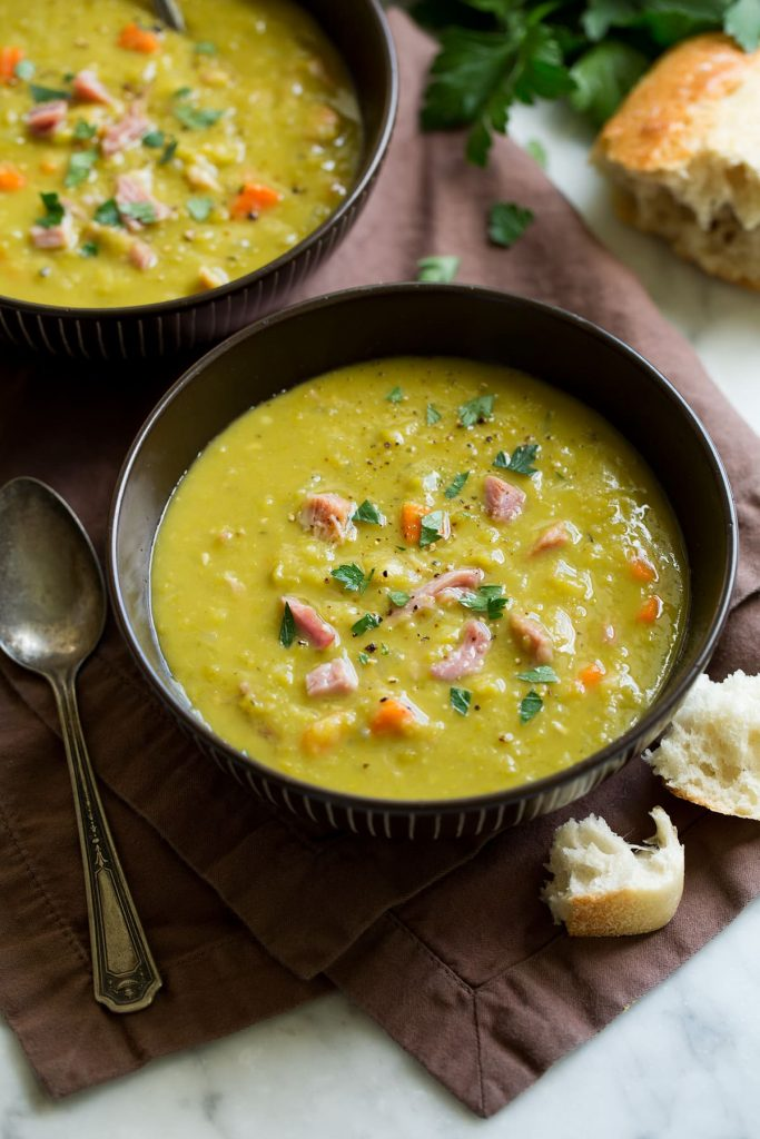 Pea soup in a bowl.