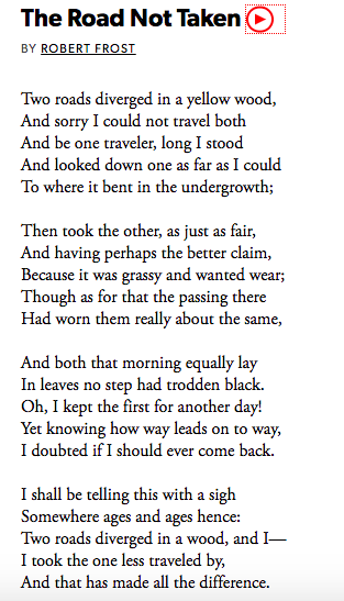 The Road Not Taken poem by Robert Frost.
